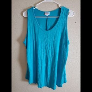 LuLaRoe 2X Blue Sleeveless T Shirt Top